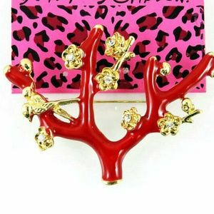 Rhinestone Enamel Red tree branches Brooch